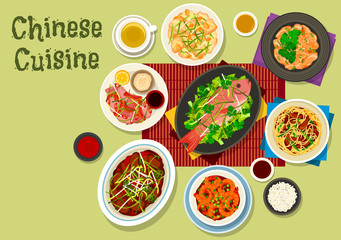 Chinese cuisine dinner icon for asian food design