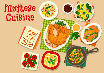 Maltese cuisine healthy food icon for menu design