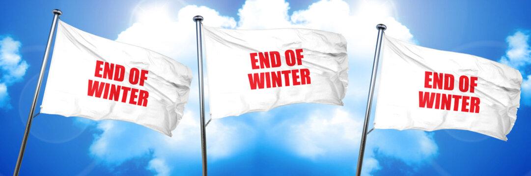 end of winter, 3D rendering, triple flags