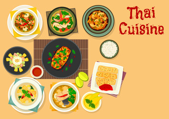 Thai cuisine dinner with fruit dessert icon design