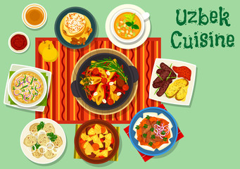 Uzbek cuisine icon for asian food design