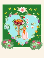 Unique wedding invitation with cute cartoon fruit tree and carrot, little birds, butterflies, rose bushes and vegetables. Beautiful vector card.
