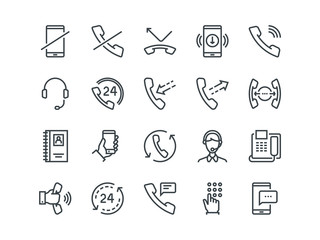 Phone. Set of outline vector icons. Includes such as Calls, Online Support, Mobile Phone and other. Editable Stroke. 48x48 Pixel