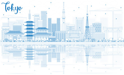 Outline Tokyo Skyline with Blue Buildings and Reflections.