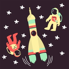 Vector illustration. Rockets and astronauts. Cartoon-style.