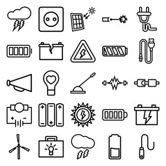 Set of 25 electricity outline icons