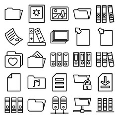 Set of 25 folder outline icons