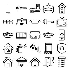 Set of 25 home outline icons