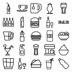 Set of 25 drink outline icons