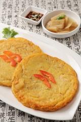 korean style mung bean pancake plate