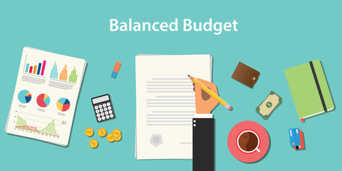 Obraz balanced budget illustration with businessman working on paper document with graph money chart paperwork - fototapety do salonu