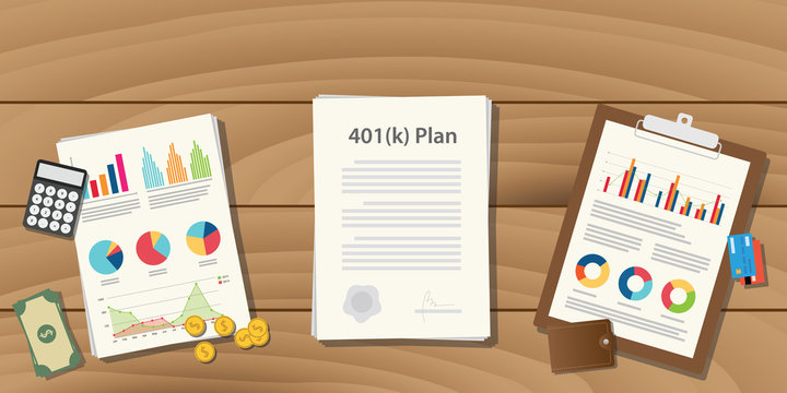 401(k) plan illustration concept with paperwork with graph and chart and money calculator on top of the table