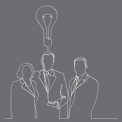 continuous line drawing of business executives with idea
