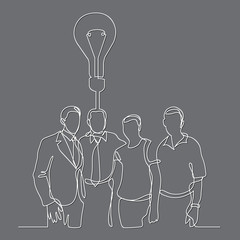 continuous line drawing of business team wih idea
