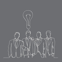 continuous line drawing of businessmen team with idea