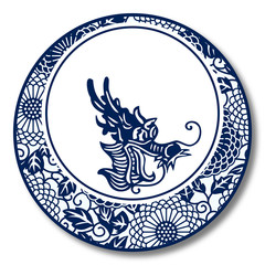 Chinese Traditional Blue And White Porcelain, Dragon
