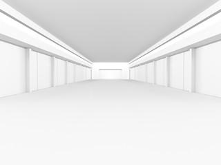 Empty white interior. 3D rendering.