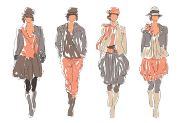 Sketch Retro Fashion Women Models