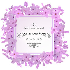 Greeting card with lilac flowers, can be used as invitation card for wedding, birthday and other holiday and summer, spring background. Round frame for text flower, delicate wreath
