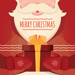Modern vector illustration of Santa Claus with gift. Christmas card poster banner. Xmas greeting template design with Happy New Year.