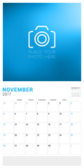 Wall Calendar Planner Template for November 2017. Week Starts Sunday. Place for Photo. Stationery Design. Vector Illustration