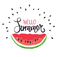 Funny summer hand drawing calligraphy / Vector background with slices of watermelon