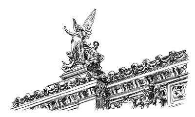 Palais Garnier, Paris, France. Sketch Vector illustration.