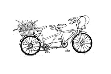 Hand drawn tandem city bicycle with basket of flower. Vintage, retro style. Sketch vector illustration.