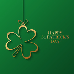 Happy Saint Patrick's Day greeting card with golden shamrock on green background. Vector illustration.