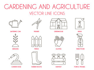 Gardening and agriculture, vector thin line icon set: watering can, pruner, greenhouse, vegetable seeds, seedling, fence, gloves, insecticide spray, garden hose, rubber boots, harvest, fork, trowel.
