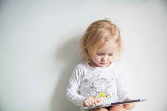 iPads little girl with white background human