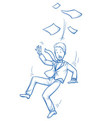Business man compressed in a fast rocket. Concept for pressure to perform, stress, too much work. Hand drawn line art cartoon vector illustration.