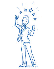 Happy young man in business suit making winning gesture with stars around him, concept for best, success. Hand drawn line art cartoon vector illustration.