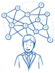 Happy business man, with network lines and icons, concept for social network team. Hand drawn line art cartoon vector illustration.