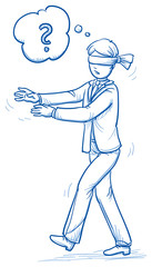Confused blind business man, walking with blindfold. Concept for irritation, clueless, lost. Hand drawn line art cartoon vector illustration.