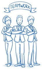 Happy business team, men and women, looking confident, concept of good teamwork. Hand drawn line art cartoon vector illustration.