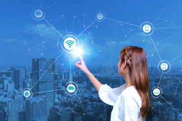young girl and Internet of Things concept