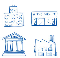 Set of building icons, office, shop, factory, bank. Hand drawn cartoon vector illustration.
