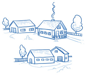 Set of two farm buildings, country houses, real estates. Hand drawn cartoon vector illustration.