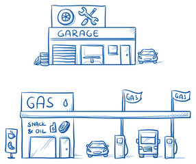 Set of garage, car repair shop and gas station, service station. Hand drawn cartoon vector illustration.