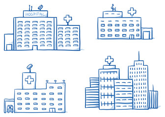 Set of different hospital buildings, medical center. Hand drawn cartoon vector illustration.