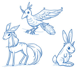 Set of fantastic animals, creatures, flying bird, magical horse deer, rabbit unicorn. Hand drawn doodle vector illustration.
