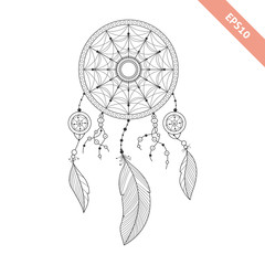 Black line dream catcher isolated on white background. Decorative element. Traced by hand from own sketch