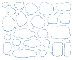 Set of different shapes and sizes of thought bubbles, round, oval, square. Hand drawn cartoon doodle vector illustration.