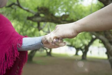 hands of lovers, men and women in parkland