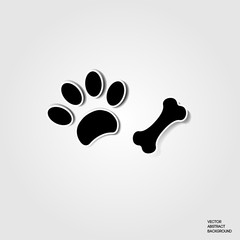 Paw dog. print dog. Bone. Dog paw. Animal. Shadow, silhouette