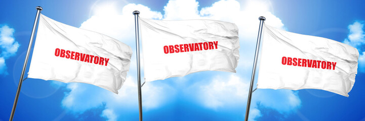 observatory, 3D rendering, triple flags