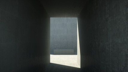 Concrete room with a corridor, 3d render