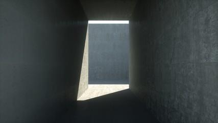 Concrete room with a corridor, 3d render