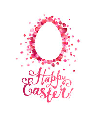 Happy Easter Greeting Card. Easter egg of pink rose petals
